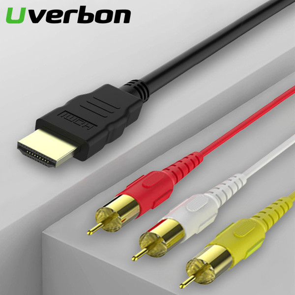 HDMI to RCA Cable HDMI Male to 3RCA AV Composite Male M/M Connector Adapter Cable Cord Transmitter No Signal Conversion