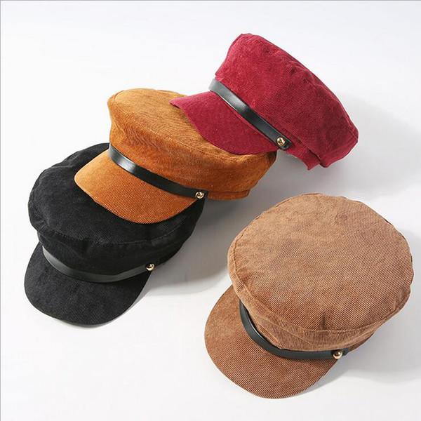 Sólida Veludo Jornaleiro Caps Homens Casuais Chapéu de Algodão Octogonal Para As Mulheres de Outono E Inverno Boinas Meninas Casquette Gavroche Boina
