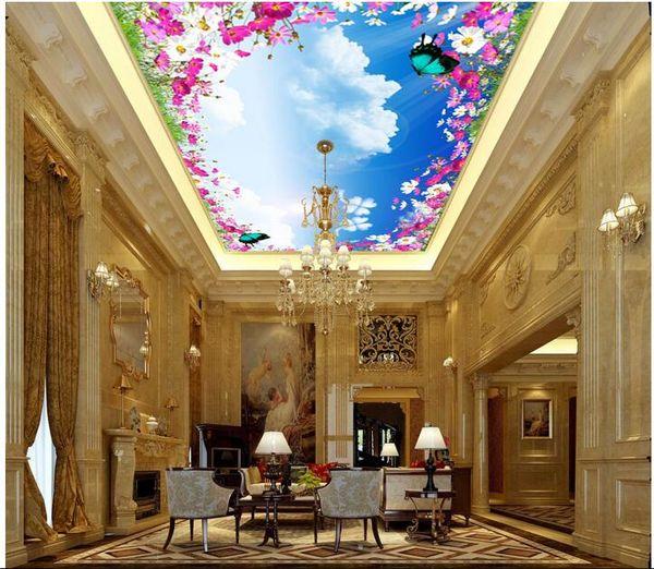 Wdbh 3d Ceiling Murals Wallpaper Custom Photo Fresh Flowering Butterfly Sky Painting Home Decor 3d Wall Murals Wallpaper For Walls 3 D Wallpapers For