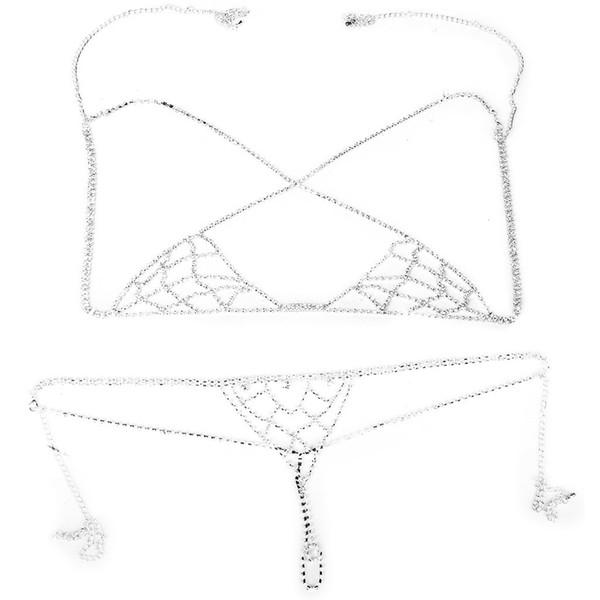 Seksi Bikini Takı Elmas taklidi Zinciri Sütyen İç Halter Üst Vücut Zinciri Seti