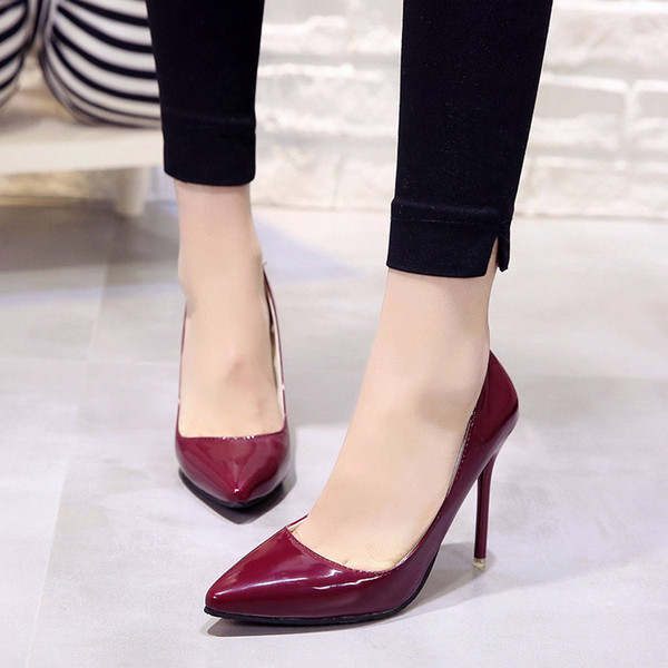 2019 Hot Women Shoes Pointed Toe Pumps Patent Leather Dress High Heels Boat Wedding Zapatos Mujer Blue Wine Red Classics 2019