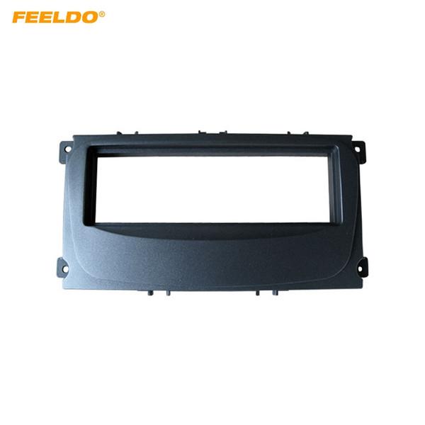 FEELDO Car Radio Audio 1DIN Fascia Frame Kit for Ford Mondeo C-Max Kuga Focus DVD Player Dash Panel Installation Trim Kit #4929