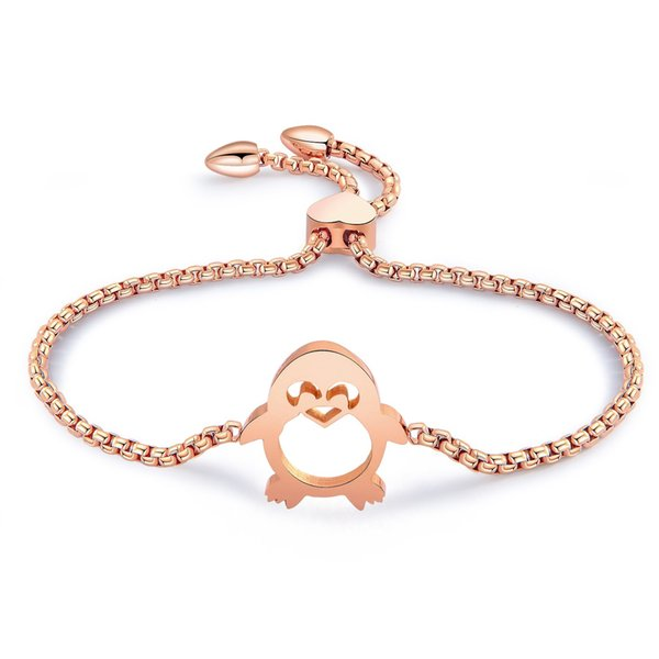 Fashion Charm Stainless Steel Mini Penguin Bangle High Quality Creative Lady Rose Gold Bracelet Jewelry Gift 3-GS951