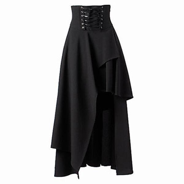 Women's Black Lace Up Skirts High Quality Gothic Lolita Style Long Skirt New Fashion Ladies Irregular Skirt Bigsweety