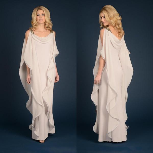 Yeni Anne Gelin Elbiseler Şampanya Lacivert Şifon Düğün Artı Boyutu Boncuklu Ruffles Akan Kılıf Kat Uzunluk