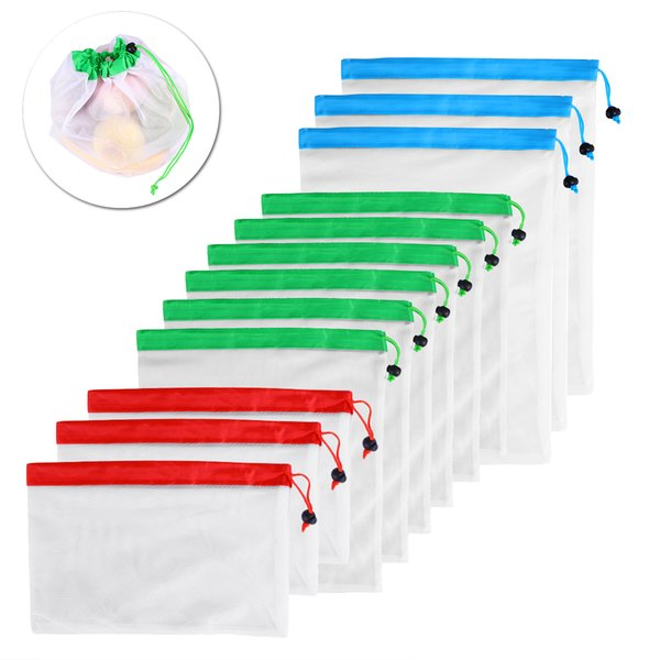 12pcs Reusable Mesh Produce Bags Washable Eco Friendly Home Package Jewelry Bags