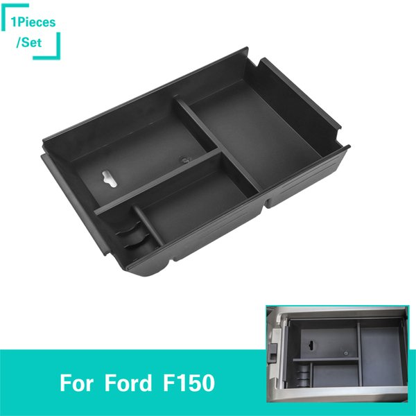 Center Console Organizer Insert Abs Black Materials Tray Armrest Box Secondary Storage For Ford F150 2011 2014 Car Accessories Cool Accessories For