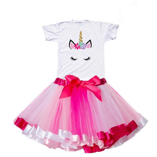 Baby Princess Dress Summer 2019 Unicorn Party Kids Rainbow tutu Dresses for Girls Clothing Infant Baby First Birthday vestiods