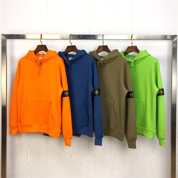 19fw Yeni lüks marka tasarım pusula turuncu floresan yeşil kazak hoodies Erkekler Kadınlar Moda Streetwear Tişörtü Açık gömlek