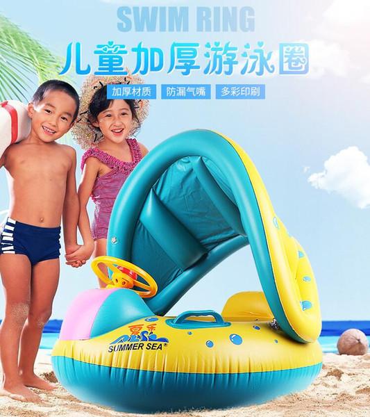 Anel de Natação das crianças Anel de Natação Do Bebê Anel Flutuante Anel Inflável com Chifre Sunscreen Galpão Água Brinquedo Iate