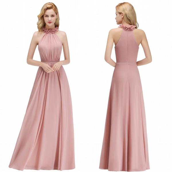 Compre Nueva Llegada Personalizada Hacer Pink Gasa Damas De Honor Vestidos 2019 Una Línea De Cuello Halter Verano Boho Beach Boda Invitados Noche