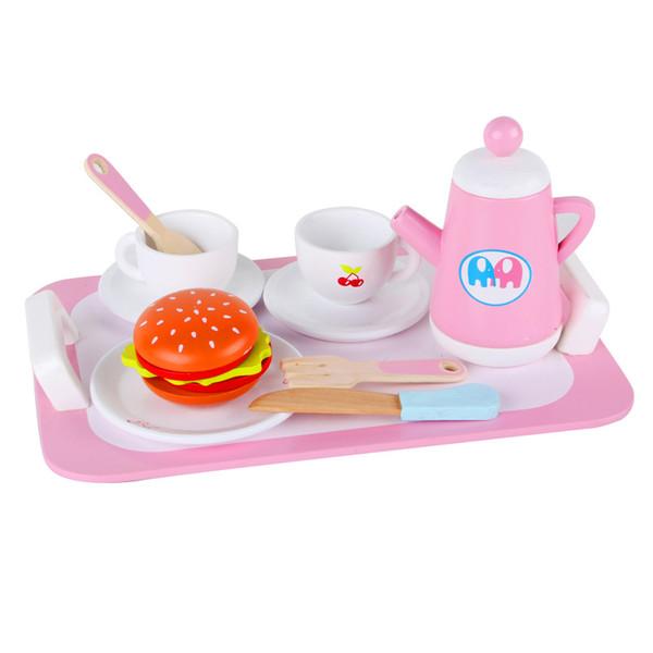 Yeni Ahşap Bebek Oyuncakları Mutfak Oyuncaklar set Ikindi Çayı Restoran Oyuncaklar Seti