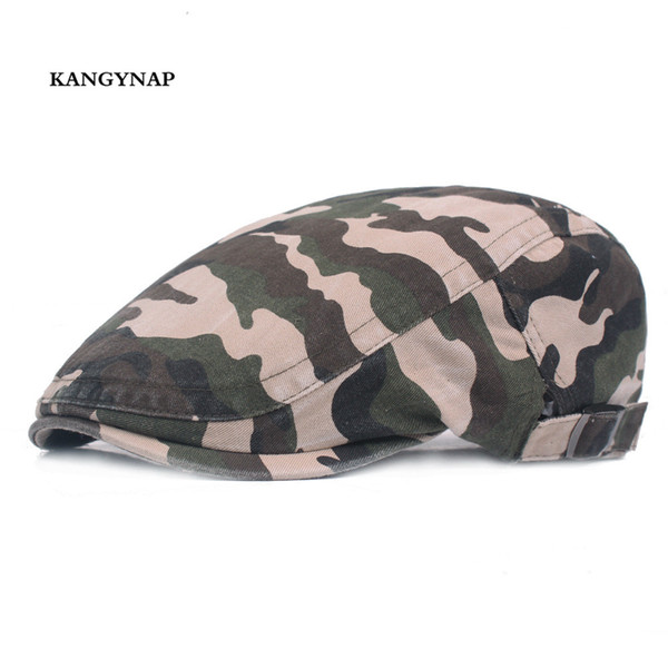 [kagynap] new camouflage men berets cap outdoors tactical mens flat cap washed cotton women summer hats snapback dad hat thumbnail