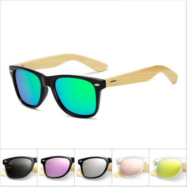 Square Shades Design Bamboo polarized Color film Sunglasses Men Wood Women Sport Retro Vintage Eyewear polorized Mirror Unisex Oculos