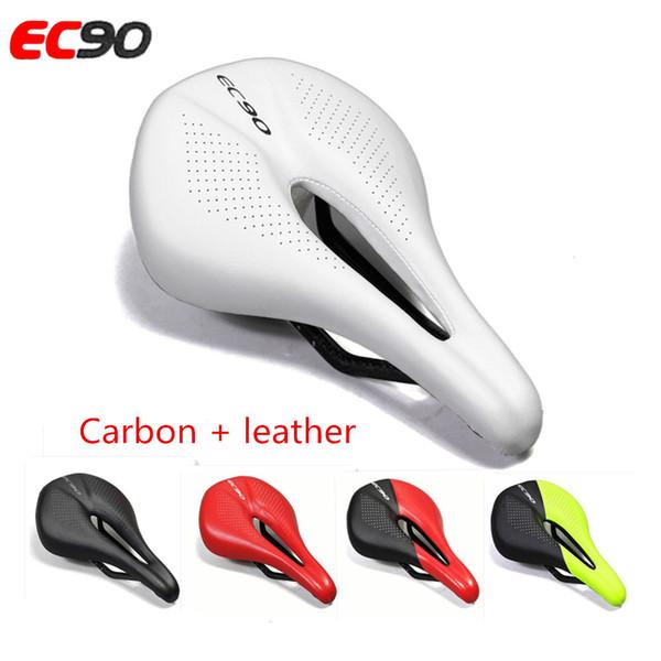 EC90 Carbon + Leder Fahrradsitz Sattel MTB Rennrad Sättel Mountainbike Racing Sattel PU Atmungsaktives Weiches Sitzkissen