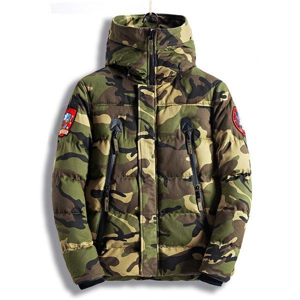 Camuflaje invierno caliente grueso chaquetas hombres de la moda Camo abrigos para hombre térmica Tamaño Parkas alta calidad M-XXXL
