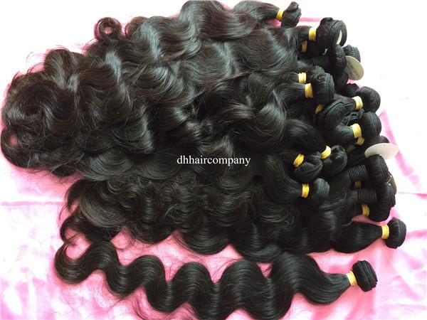 Raw Indian Body Wave Human Hair #1b Unprocessed Wavy Hair Extensiones Can Be Dyed Any Color 4 bundles/lot