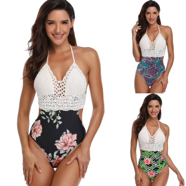 Stylish Women Swimwear Sexy Bodysuit Lace-up Print Halter Knit Bikini Beach Swimwear Suit Popular Women's Swimming Suit Biquini