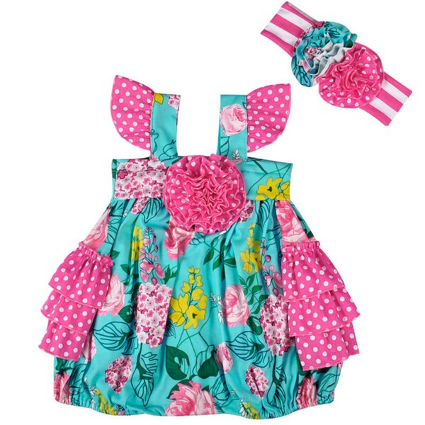 New Baby Romper Toddler Green and Hot Pink Floral Onesie with Headband Fashion Newborn Girls Jumpsuit