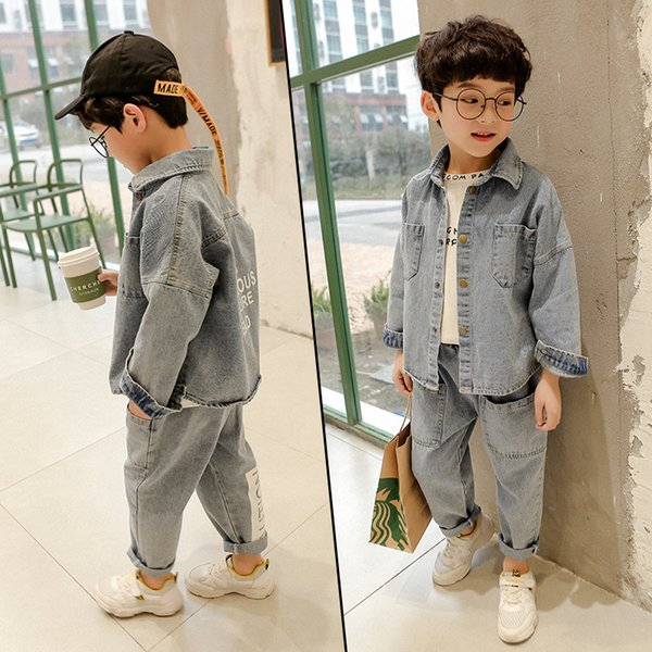 Children's Clothing Boy's Coat Autumn Casual Denim Jacket + Loose Sports Jeans Two-piece