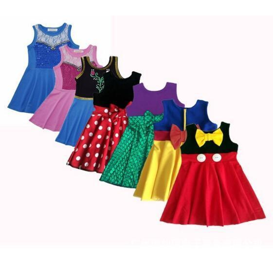 21 Styles Little Girls Princess Dresses Summer Cartoon Kids Princess Dresses Casual Clothes Kid Trip Frocks Party Costume CCA11571 10pcs