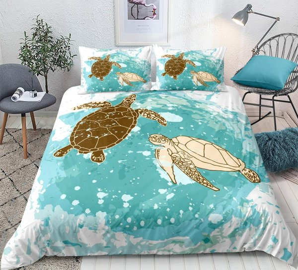 Sea turtle Bedding Set ocean Print Duvet cover set for kids Beautiful cartoon blue Bedclothes queen size dropship