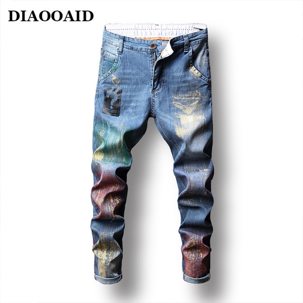 Diaooaid 2018 New High Street Fashion Jeans da Uomo Slim Fit Retro Matita Vernice Stampata Pantaloni Hip Hop Dropshipping Pantaloni Maschili C19041201