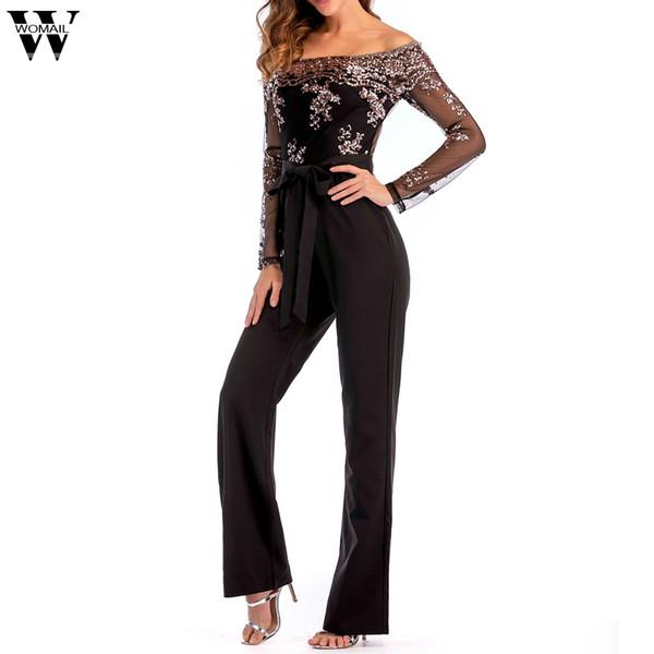 wholesale evening jumpsuit de fiesta mujer Sexy Wide Leg Sequin Mesh Splice Cold Shoulder Long Sleeve Jumpsuit elegant plus size
