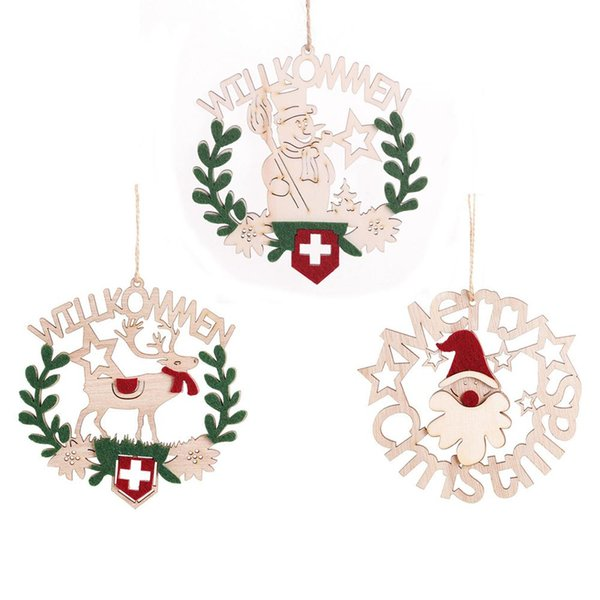 1 Pcs 2019 New Christmas Decoration Wooden Openwork Letter Hanging Wreath Pendant Innovative Product Design Wooden Ornaments