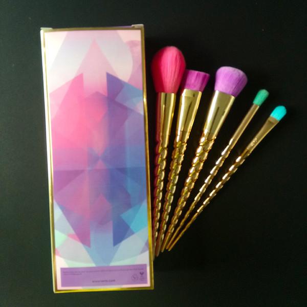 T Brosse Ensembles cosmétiques brosse 5PCS couleur vive or rose Spirale tige pinceau de maquillage Licorne vis outils de maquillage Livraison gratuite 20