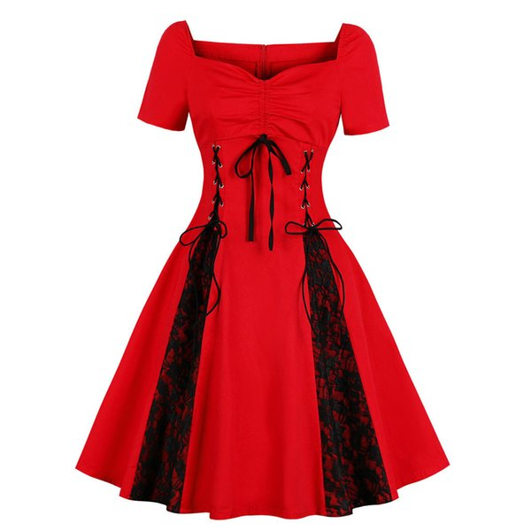Vintage Dresses Women Square Collar Short Sleeve Gothic Lace Rockabilly Evening Prom Swing Punk Dress 2019 New Fashion 2019