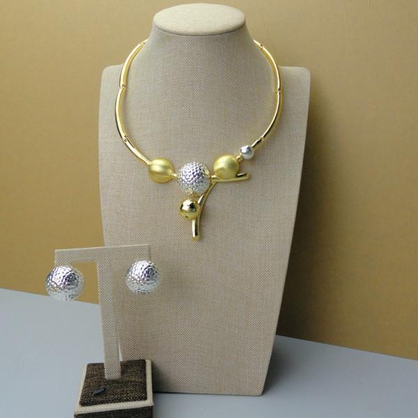2019 Yuminglai alta classe design italiano 24K Dubai Costume Jewelry Set collana e orecchini FHK5080