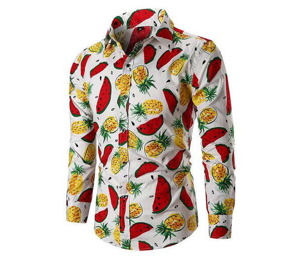 New Oxford Textile Business Casual Digital Print Loose Men's Pocket Long Sleeve Shirt Free Shipping 05