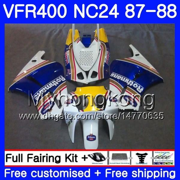 Corps Rothmans Blue Pour HONDA RVF400R VFR400 R NC24 V4 RVF400RR VFR400R 87 88 267HM.20 RVF VFR 400 R VFR400RR VFR 400R 1987 1988 Kit de carénage