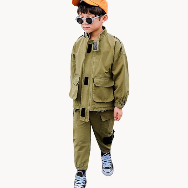 Garçons Vêtements Pantalons Cargo Veste Jeunes garçons Vêtements Mode de poche des vêtements pour l'automne Kid Boy Streetwear