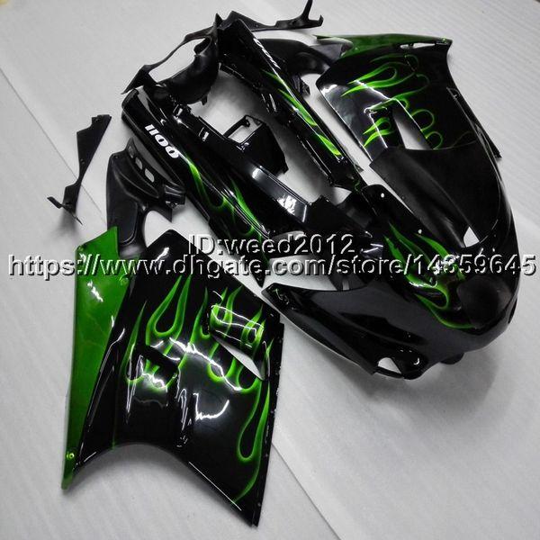 Capucha de la motocicleta de las llamas verdes de Screws + Gifts para Kawasaki ZX11 ZX11R 1990 1991 1992 ABS Plastic Fairing