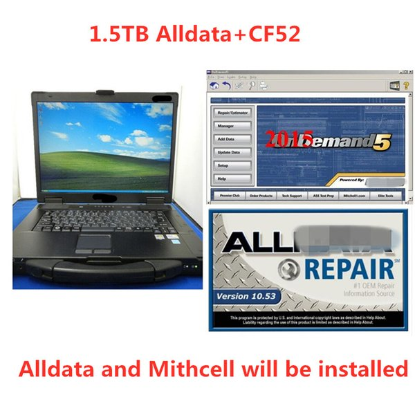 Versión instalada Alldata y Mitchell Software todos los datos 10.53 mitchell on demand 24in1 hdd 1.5tb con computadora portátil CF52