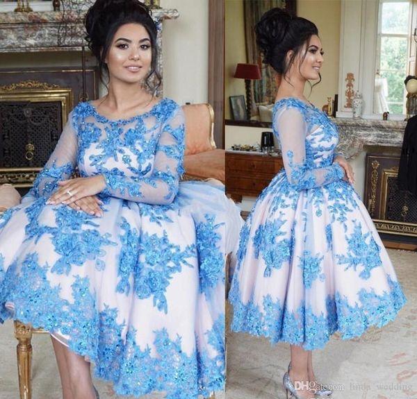 2019 schiere lange Ärmel Spitze Cocktailkleid eine Linie knielangen Mutter Holiday Club Homecoming Party Kleid Plus Size Custom machen