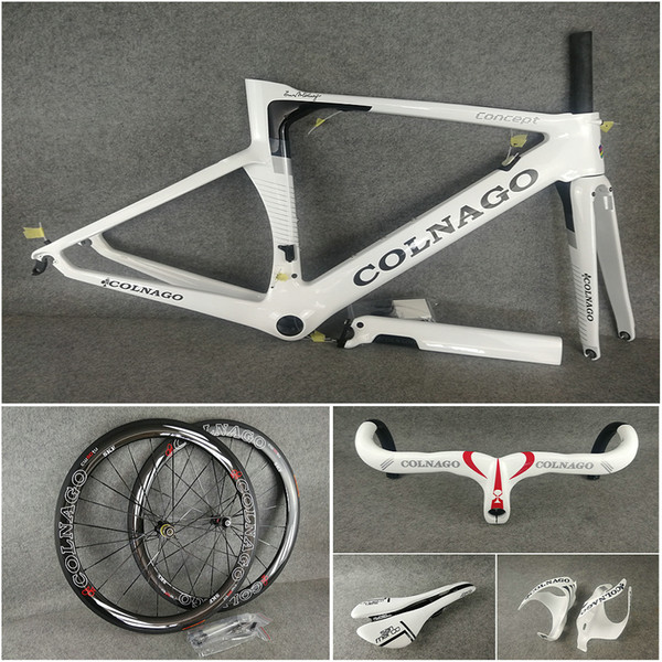 T1000 UD Glossy White Concept carbon road Frames Handlebar Saddle Bottle cages 50mm carbon wheelset Novatec A271 hubs free shipping
