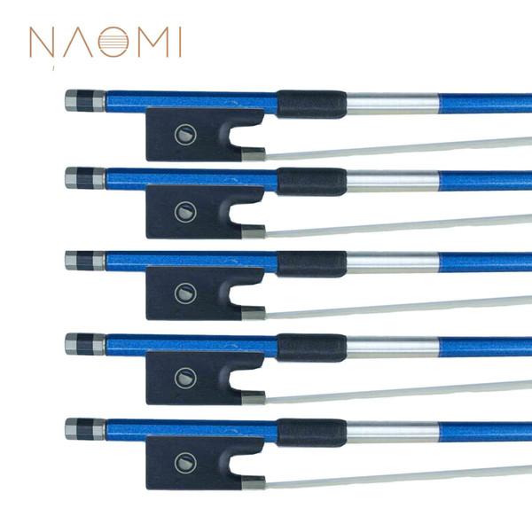 NAOMI 5 PCS Blue Carbon Fiber Violin Bow 4/4 Carbon Fiber Bow For 4/4 Violin Well Balance Horse Hair Violin Bow Accessories
