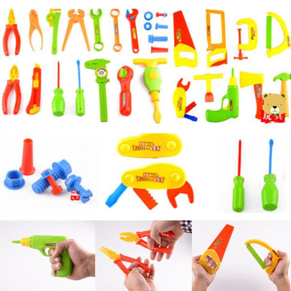 34 Pcs Pretend Tools Toys Plastic Repair Set Boys Baby Kids Craftsman Learn Play Plastic Maintenance Tool Pliers Wrench Tools