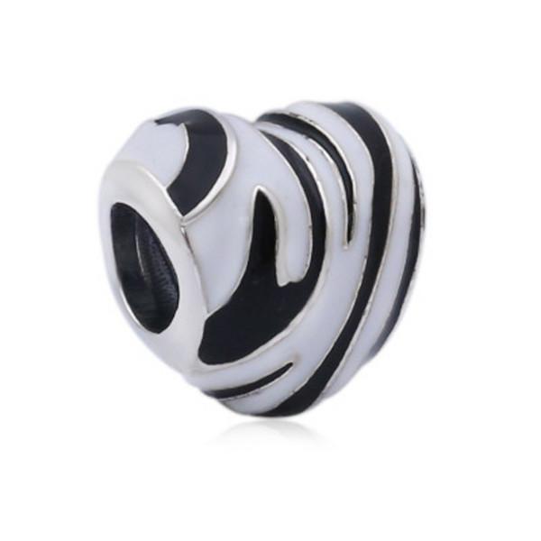 Otantik 100% 925 Ayar Gümüş Boncuk Charm Zebra Çizgiler Monokrom Emaye Vahşi Çizgili Kalp Boncuk Fit Pandora Bilezik Diy Takı