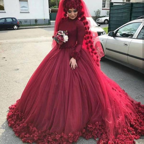 Vestido de bola musulmán Vestidos de novia con manga larga Full 3D Floral Hecho a mano Flor Catedral Tren Iglesia Jardín Vestido de boda nupcial