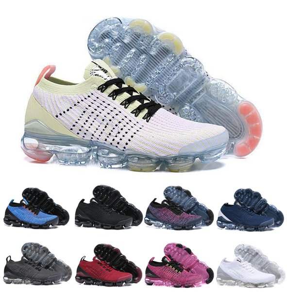ashan66 / 2019 Novo Designer Vapors Malha Sapatos preto branco azul Sports Running Shoes Novos homens mulheres Moda Almofada de Ar Jogging Andando Tênis 36-45