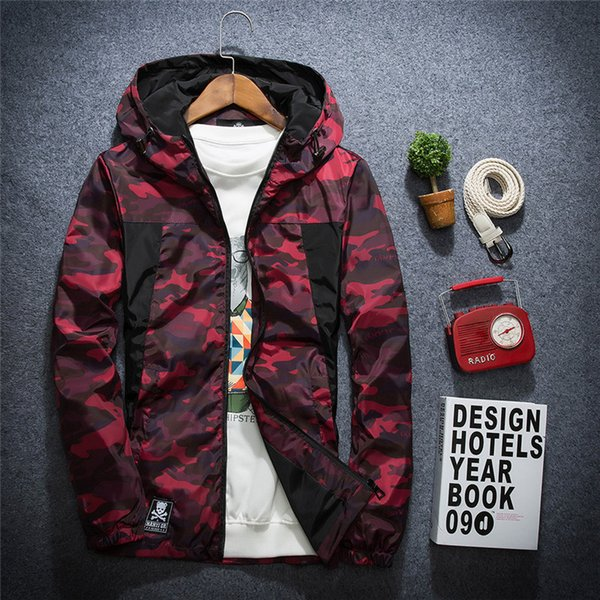 bomber jacket for male 2019 fashion camouflage waterproof windproof jacket spring male hooded thin style sunscreen coat s-6xl