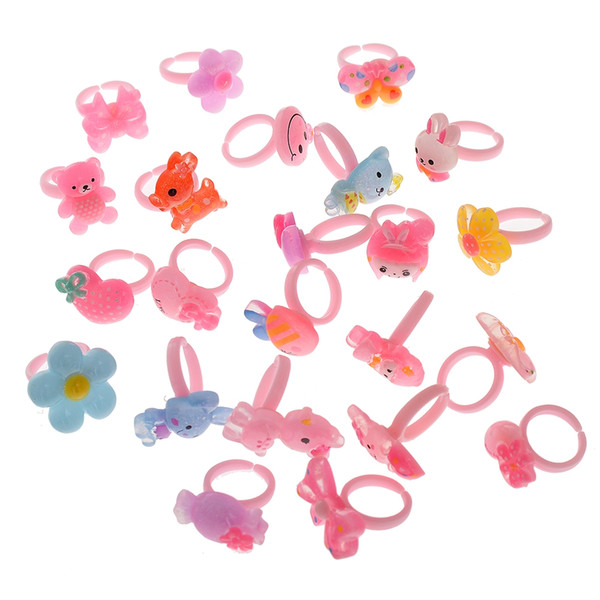 100pcs High Quality Lucency Ring For Children Gifts Birthday Creative Random Colors Jewelry Size Diameter 14