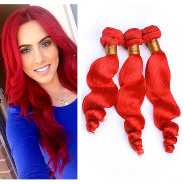 Peruvian Bright Red Human Hair Weaves Loose Wave Wavy Bundles Deals 3Pcs Lot Pure Red Color Virgin Human Hair Weave Extensions Mixed Length