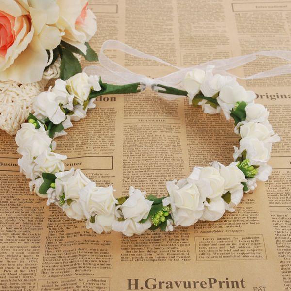 wedding rose flower crown artificial pe flower wreaths bride hairband festival travel beach hair accessory floral garland