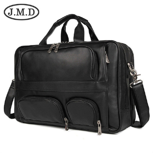 J.M.D 100% Genuine Vintage Leather Men's Briefcase Laptop Bag Big Size Hand Business Bag Coffee 7289B
