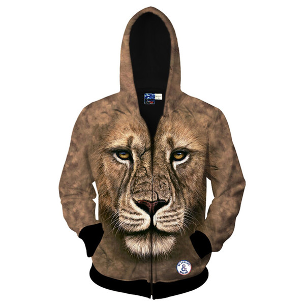 Cloudstyle 2017 Fashion Men 3D Hoodies Zipper Lion Print Hoody Sweatshirt Autumn Popular Casual Jacket Harajuku Sportwear